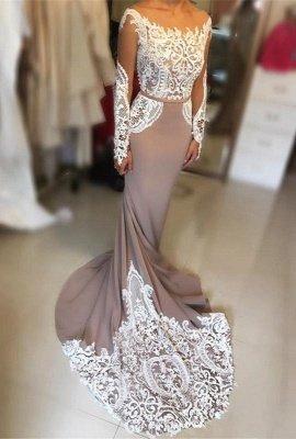 Sexy Long-Sleeve Evening Dress UK   Lace Prom Dress UK_1