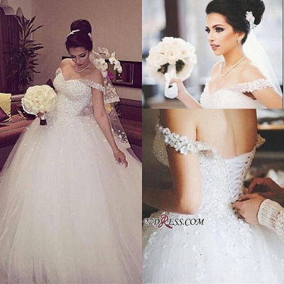 Beads Unique Off-the-shoulder Lace-up Appliques Ball-Gown Wedding Dress_1
