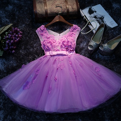 Lovely Sleeveless Appliques Short Prom Dress UKes UK Tulle Homecoming Dress UK_1