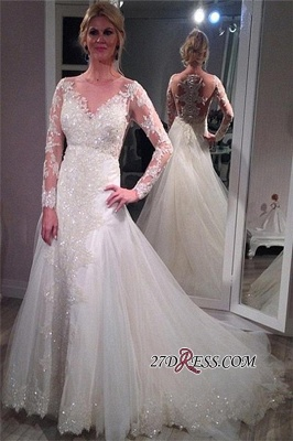 Tulle Elegant Lace Long-Sleeve Sequins Appliques Wedding Dress_3