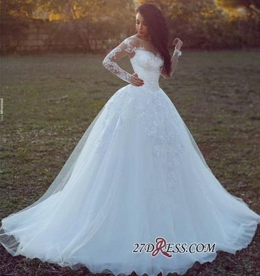 Long-Sleeves Tulle Ball Appliques Elegant Wedding Dress_1