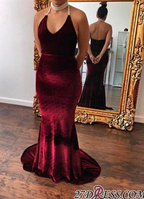 V-Neck Halter Velvet mermaid Gorgeous Evening Dress UK_3
