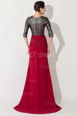 Gorgeous Half Sleeve Bodycon Evening Dress UK Sweep Train_3