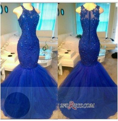 Royal-Blue Mermaid Appliques Sexy Sleeveless Tulle Beadings Evening Dress UKes UK BA6146_1