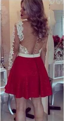 Lace Beaded Long-Sleeves Sheer Short Homecoming Dress UKes UK_1