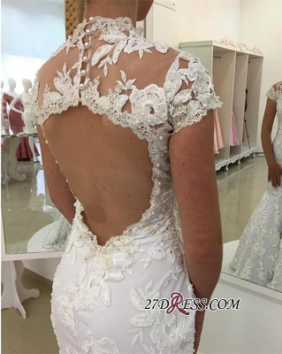 Pearls High-Neck Zipper White Newest Appliques Sexy Mermaid Lace Wedding Dress_2