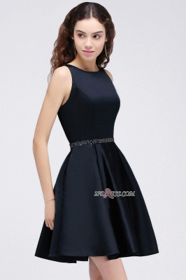 A-Line Beadings Sleeveless Sequare Black Short Homecoming Dress UKes UK_5