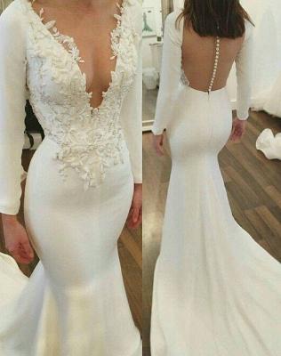 V-Neck Long Sleeve Wedding Dress | Sexy Mermaid Bridal Gowns_3