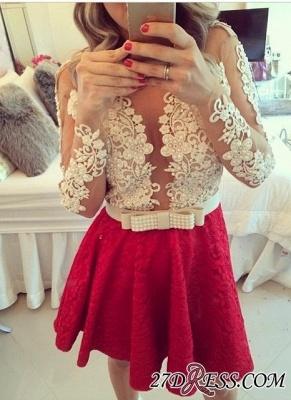 Lace Beaded Long-Sleeves Sheer Short Homecoming Dress UKes UK_3