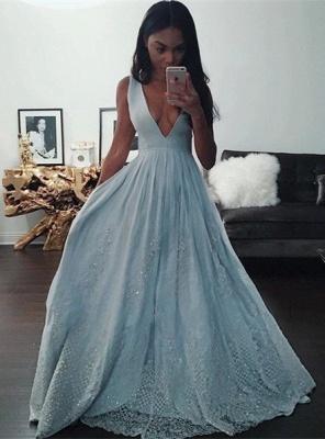 Elegant V-Neck Baby Blue Evening Dress UK Sequins Lace BA3638_1