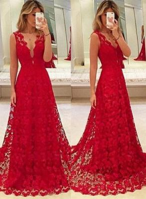 Elegant Red Lace V-Neck Prom Dress UK Tulle BA3843_1