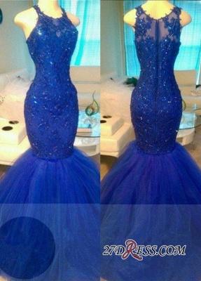 Royal-Blue Mermaid Appliques Sexy Sleeveless Tulle Beadings Evening Dress UKes UK BA6146_2