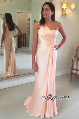 Sheath Pink One-Shoulder Ruffles Sleeveless Prom Dress UK_2