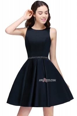 A-Line Beadings Sleeveless Sequare Black Short Homecoming Dress UKes UK_6