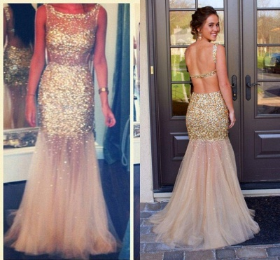 Gorgeous Sleeveless Crystal Prom Dress UKes UK Mermaid Backless Tulle Evening Dress UK_3