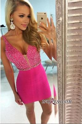 V-neck Short Homecoming Sheath Elegant Fuchsia Beaded Sexy Dress UKes UK_2
