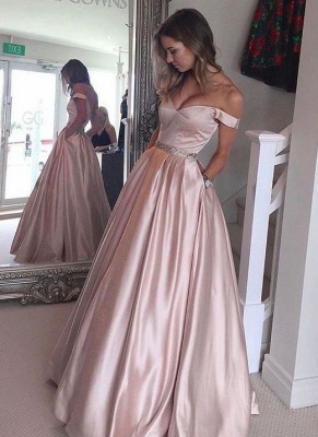 Off-the-Shoulder Beading Pockets Pearl-Pink Puffy Prom Dress UKes UK BA5008_1
