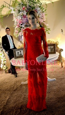 Elegant Long Red Lace Prom Dress UK Sleeves Luxury_1