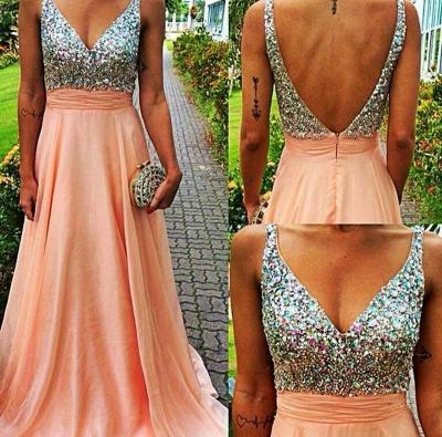 Gorgeous V-neck Sleeveless Chiffon Prom Dress UK With Crystals_1
