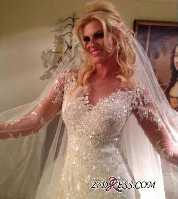 Tulle Elegant Lace Long-Sleeve Sequins Appliques Wedding Dress_2