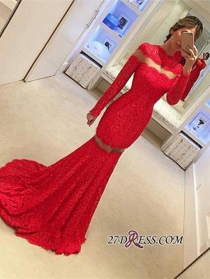 Long-Sleeve Lace Red Sweep-Train Elegant Mermaid Prom Dress UK BA4628_2