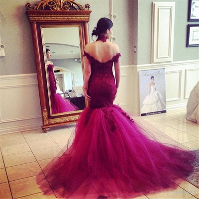 High Neck Tulle Sexy Mermaid Wedding Dress Lace Appliques Sweep Train_4