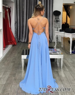 Unique Elegant Split-front V-neck Long Chiffon Blue Evening Dress UK BA6637_1