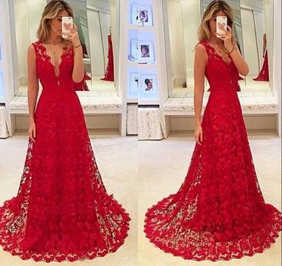 Elegant Red Lace V-Neck Prom Dress UK Tulle BA3843_3