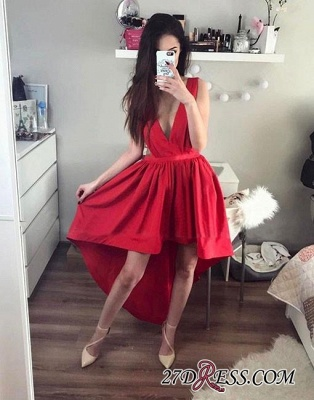 A-line Stylish V-neck Red Red High-low Evening Dress UK_1