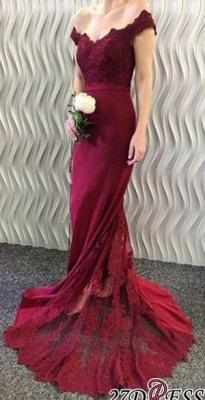 Lace-Appliques Off-the-Shoulder Burgundy Mermaid Long Prom Dress UKes UK BA3997_2