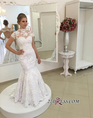 Pearls High-Neck Zipper White Newest Appliques Sexy Mermaid Lace Wedding Dress_3