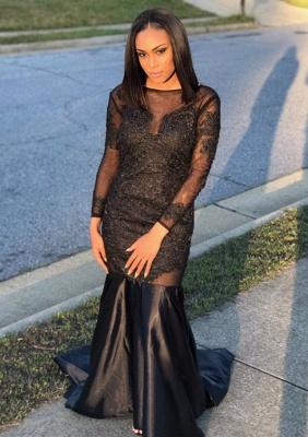 Black Long-Sleeve Prom Dress UK | Mermaid Evening Gowns Online_1