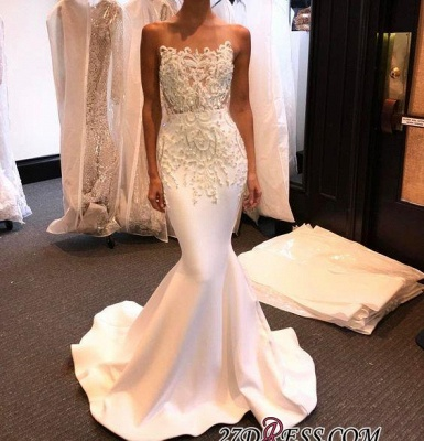 Long Mermaid Shiny White Beading Prom Dress UKes UK LY145_1