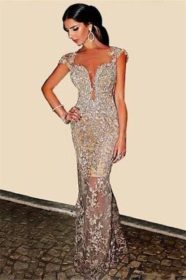 Luxury Cap Sleeve Mermaid Evening Dress UK Lace Sequins Appliques_4