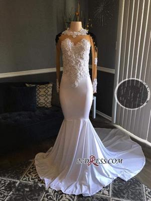Black Long-Sleeves Lace-Appliques Mermaid White Sheer Prom Dress UKes UK_1