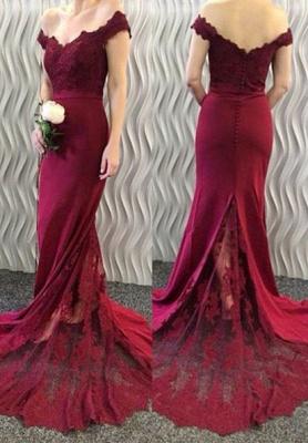 Lace-Appliques Off-the-Shoulder Burgundy Mermaid Long Prom Dress UKes UK BA3997_3