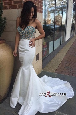 Elegant Mermaid Crystal Open-Back Sweetheart Prom Dress UK BK0_2