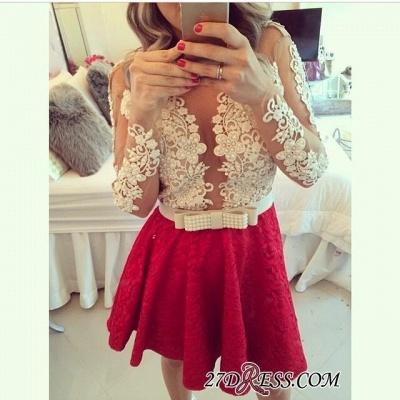 Lace Beaded Long-Sleeves Sheer Short Homecoming Dress UKes UK_4