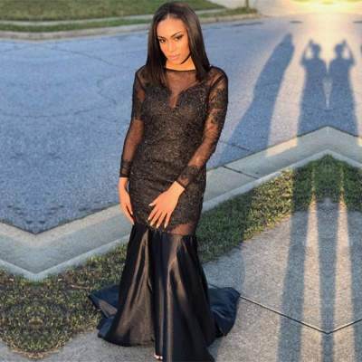 Black Long-Sleeve Prom Dress UK | Mermaid Evening Gowns Online_3