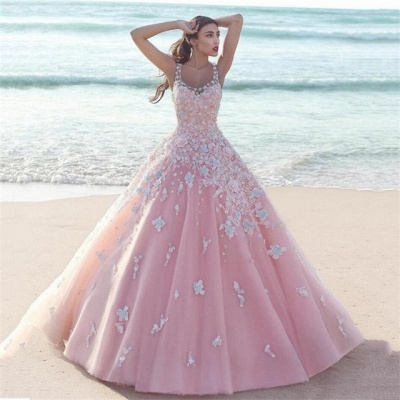 Sexy Pink Prom Dress UK |Lace Appliques Sleeveless Evening Gowns_3