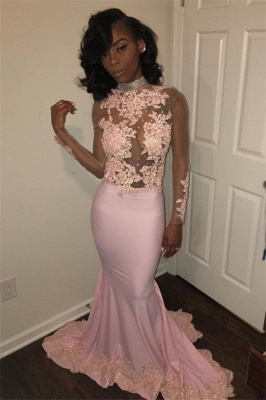 Pink High-Neck Prom Dress UK | Mermaid Evening Party Gowns With Lace Appliques BK0_1