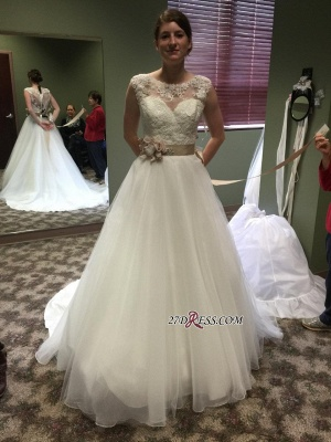 Lace Applique Princess Scoop Neckline Chic Cap-Sleeves Wedding Dresses UK Flower-Sashes_2