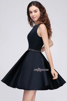 A-Line Beadings Sleeveless Sequare Black Short Homecoming Dress UKes UK_4