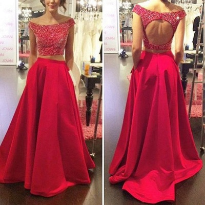 Modern Red Two Piece Prom Dress UK Off-the-shoulder Zipper SP0027_3