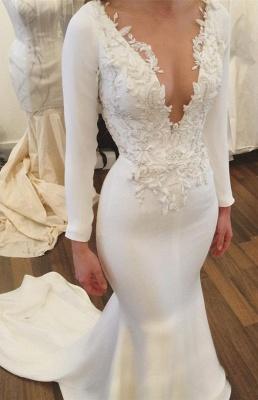 V-Neck Long Sleeve Wedding Dress | Sexy Mermaid Bridal Gowns_1
