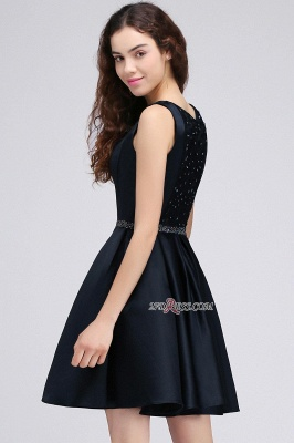 A-Line Beadings Sleeveless Sequare Black Short Homecoming Dress UKes UK_3
