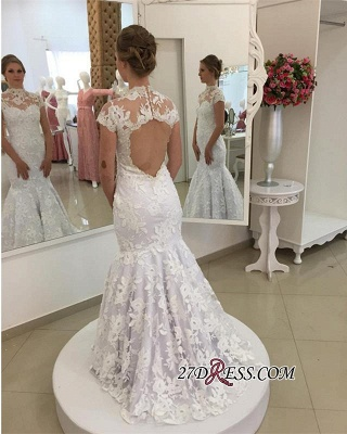 Pearls High-Neck Zipper White Newest Appliques Sexy Mermaid Lace Wedding Dress_1