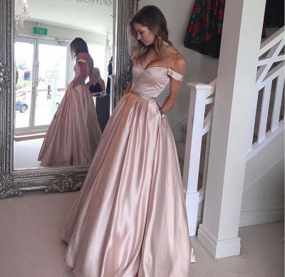 Off-the-Shoulder Beading Pockets Pearl-Pink Puffy Prom Dress UKes UK BA5008_2