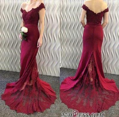 Lace-Appliques Off-the-Shoulder Burgundy Mermaid Long Prom Dress UKes UK BA3997_1