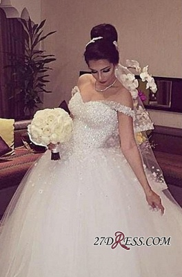 Beads Unique Off-the-shoulder Lace-up Appliques Ball-Gown Wedding Dress_2